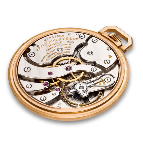 PATEK PHILIPPE PINK GOLD, ENAMEL AND RUBY OPEN FACE POCKET WATCH, REF. 600/1R