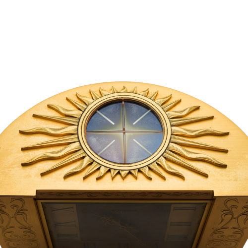 PATEK PHILIPPE GILDED BRASS AND LACQUER SOLAR DESK CLOCK