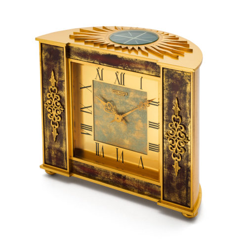 PATEK PHILIPPE GILDED BRASS AND LACQUER DESK CLOCK